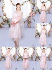 Stunning Baby Pink Sleeveless Tea Length Appliques Lace Up Damas Dress