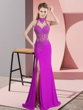 Delicate Sleeveless Backless Floor Length Lace and Appliques Prom Party Dress