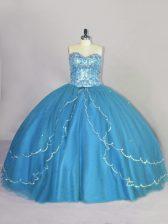 Beading Sweet 16 Quinceanera Dress Blue Lace Up Sleeveless Brush Train