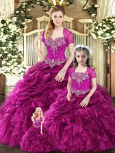 Eye-catching Fuchsia Lace Up Sweetheart Beading and Ruffles and Pick Ups Vestidos de Quinceanera Organza Sleeveless