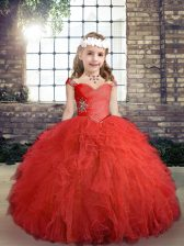 Straps Sleeveless Little Girls Pageant Dress Wholesale Floor Length Beading and Ruffles Red Tulle