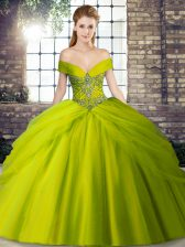 Adorable Brush Train Ball Gowns Quinceanera Gown Olive Green Off The Shoulder Tulle Sleeveless Lace Up
