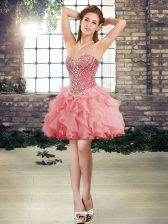 Custom Made Sweetheart Sleeveless Tulle Prom Dresses Beading and Ruffles Lace Up