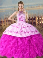 Sleeveless Organza Court Train Lace Up Vestidos de Quinceanera in Fuchsia with Embroidery and Ruffles
