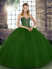 Green Sleeveless Floor Length Beading Lace Up Quinceanera Dresses