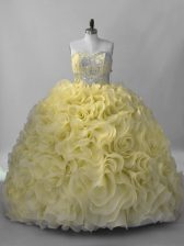 Yellow Fabric With Rolling Flowers Lace Up Sweetheart Sleeveless 15 Quinceanera Dress Beading