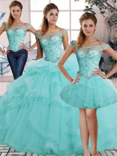High Quality Aqua Blue Tulle Lace Up Off The Shoulder Sleeveless Floor Length Quince Ball Gowns Beading and Ruffles