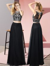 Fantastic Black Two Pieces Scoop Sleeveless Chiffon Floor Length Backless Beading Dress for Prom