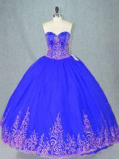 Fine Blue Sleeveless Tulle Lace Up Quinceanera Gown for Sweet 16 and Quinceanera