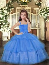 Ruffled Layers Little Girl Pageant Gowns Blue Lace Up Sleeveless Floor Length
