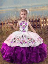 Floor Length Purple Kids Pageant Dress Organza Sleeveless Embroidery and Ruffles