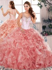 Ball Gowns Quinceanera Gown Watermelon Red Scoop Organza Sleeveless Floor Length Clasp Handle