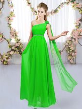 Sleeveless Floor Length Beading and Hand Made Flower Lace Up Damas Dress with