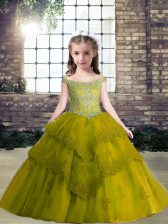 Stunning Floor Length Olive Green Little Girls Pageant Gowns Tulle Sleeveless Beading and Appliques