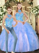 Fine Sleeveless Tulle Floor Length Lace Up Sweet 16 Dresses in Multi-color with Embroidery and Ruffles