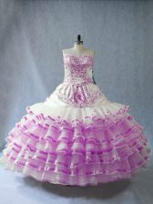Floor Length Lilac Ball Gown Prom Dress Sweetheart Sleeveless Lace Up