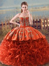Beauteous Orange Red Sweet 16 Dresses Sweet 16 and Quinceanera with Embroidery and Ruffles Sweetheart Sleeveless Brush Train Lace Up