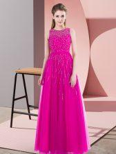 Amazing Scoop Sleeveless Dress for Prom Floor Length Beading Fuchsia Tulle
