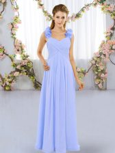 Best Selling Lavender Lace Up Quinceanera Court Dresses Hand Made Flower Sleeveless Floor Length