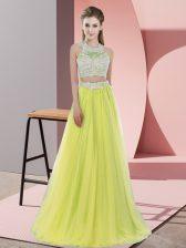 Flare Floor Length Yellow Damas Dress Halter Top Sleeveless Zipper