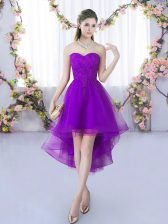 Stunning Eggplant Purple A-line Sweetheart Sleeveless Tulle High Low Lace Up Lace Damas Dress