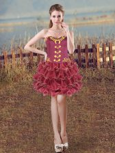 Flirting Sweetheart Sleeveless Organza Homecoming Dress Embroidery and Ruffles Lace Up