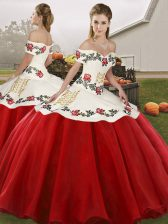 Embroidery Ball Gown Prom Dress White And Red Lace Up Sleeveless Floor Length