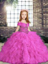 Modern Floor Length Lilac Little Girls Pageant Dress Tulle Sleeveless Beading and Ruffles