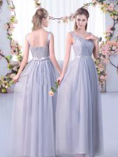 Grey Tulle Side Zipper V-neck Sleeveless Floor Length Dama Dress for Quinceanera Lace and Belt