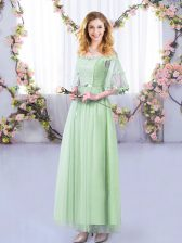 Floor Length Apple Green Dama Dress for Quinceanera Tulle Half Sleeves Lace and Belt