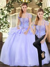 Ideal Floor Length Two Pieces Sleeveless Lavender Quinceanera Dresses Lace Up
