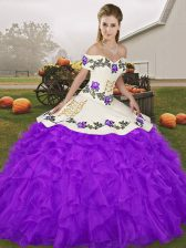 Clearance Purple Ball Gowns Organza Off The Shoulder Sleeveless Embroidery and Ruffles Floor Length Lace Up Sweet 16 Dresses