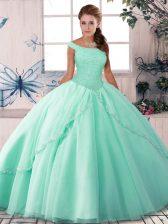 Glamorous Beading 15th Birthday Dress Apple Green Lace Up Sleeveless Brush Train