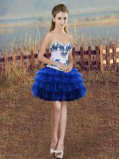 Cheap Mini Length Royal Blue Dress for Prom Organza Sleeveless Embroidery and Ruffled Layers