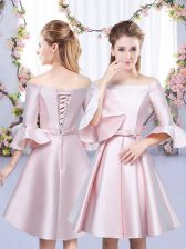 Bowknot Quinceanera Court of Honor Dress Baby Pink Lace Up 3 4 Length Sleeve Mini Length