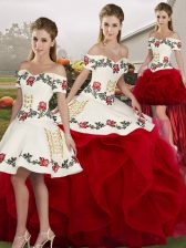White And Red Sleeveless Tulle Lace Up Sweet 16 Dresses for Military Ball and Sweet 16 and Quinceanera