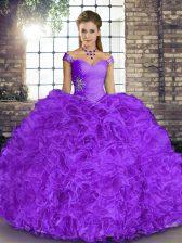 Charming Organza Sleeveless Floor Length Sweet 16 Dresses and Beading and Ruffles