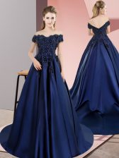 Off The Shoulder Sleeveless Quinceanera Gowns Lace Navy Blue Satin