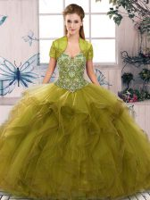 Artistic Tulle Off The Shoulder Sleeveless Lace Up Beading and Ruffles Sweet 16 Dresses in Olive Green