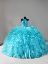 Lovely Aqua Blue Halter Top Lace Up Beading and Ruffles 15th Birthday Dress Brush Train Sleeveless