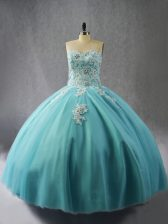 Colorful Appliques Quinceanera Dress Blue Lace Up Sleeveless Floor Length