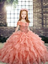Beading and Ruffles Evening Gowns Peach Lace Up Sleeveless Floor Length