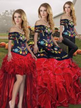Sumptuous Off The Shoulder Sleeveless Organza Sweet 16 Dresses Embroidery and Ruffles Lace Up