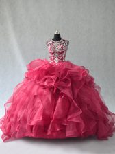Shining Floor Length Ball Gowns Sleeveless Red 15 Quinceanera Dress Lace Up