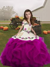 Beauteous Sleeveless Embroidery and Ruffles Lace Up Pageant Gowns For Girls