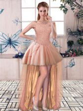 Peach Off The Shoulder Lace Up Beading Prom Party Dress Sleeveless