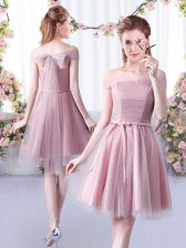 Dramatic Knee Length Pink Quinceanera Court of Honor Dress Off The Shoulder Sleeveless Lace Up