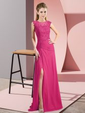 Romantic Hot Pink Prom Gown Prom and Party and Military Ball with Beading Scoop Sleeveless Zipper