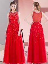 Sleeveless Side Zipper Floor Length Beading Prom Gown