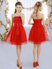 Empire Dama Dress Red Strapless Tulle Sleeveless Mini Length Side Zipper